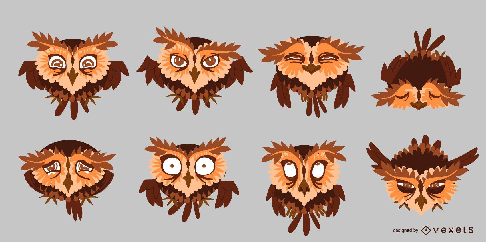 Pacote de desenho animado de ilustração de coruja