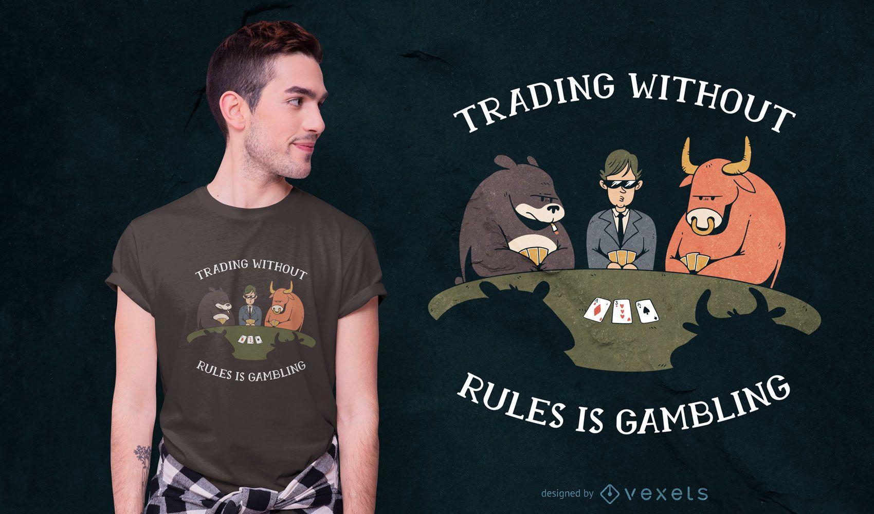 Diseño de camiseta de cita de juego de póquer