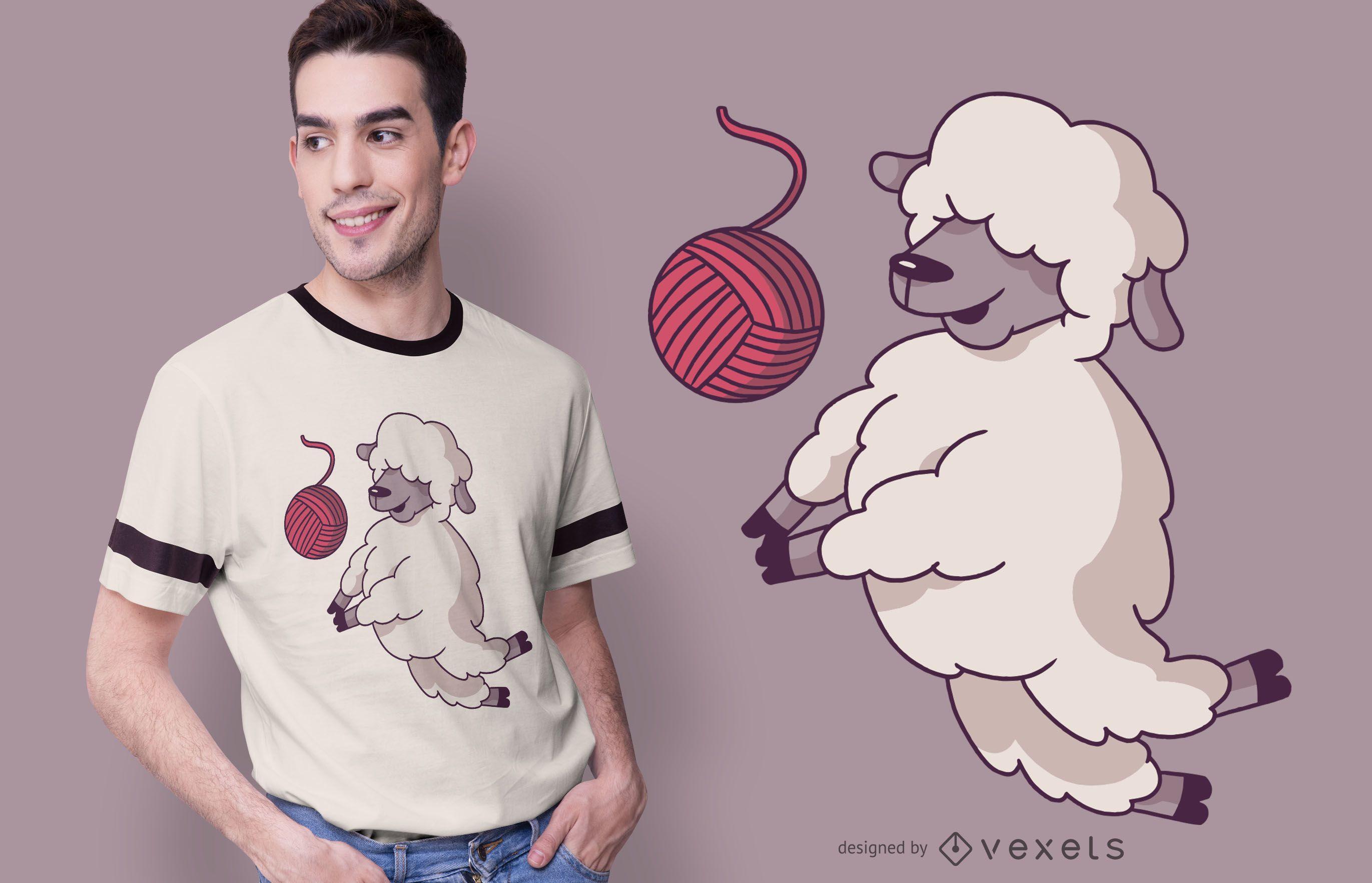 Diseño de camiseta de oveja de voleibol.