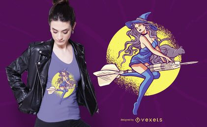 Diseño de camiseta de bruja de dardos