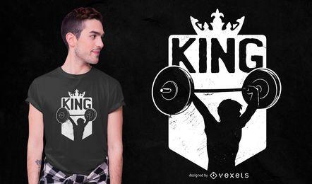 Design de camiseta rei halterofilismo