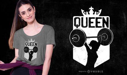 Design de camiseta rainha do halterofilismo