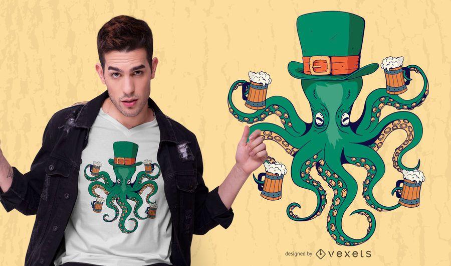 Diseño de camiseta de pulpo de san patricio