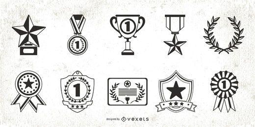 Pacote de elementos de prêmio de traçado plano