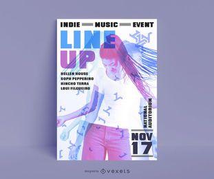 Design de cartaz de música indie
