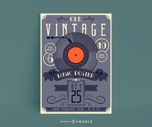 Design de pôster de música vintage antigo
