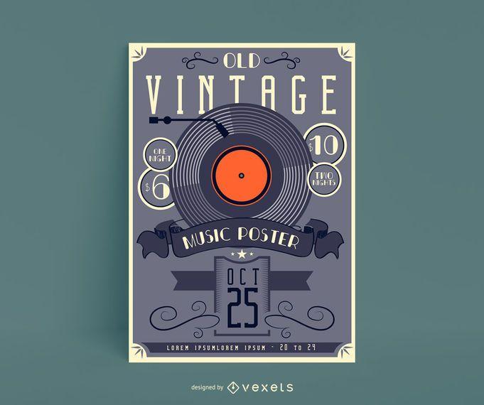 Design de cartaz antigo de música vintage