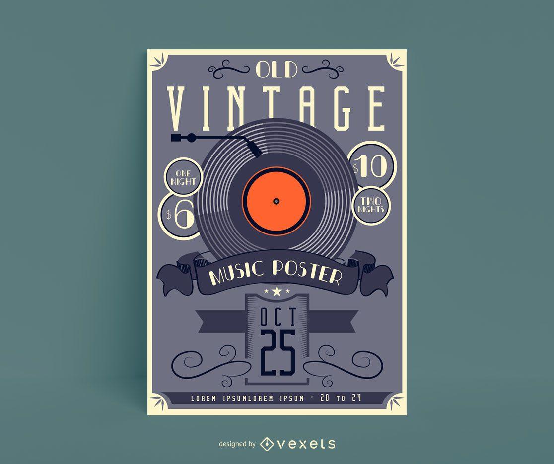 Old Vintage Music Poster Design