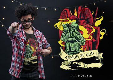 Diseño de camiseta de armadura de dios