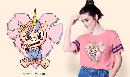 Diseño de camiseta de anime unicornio