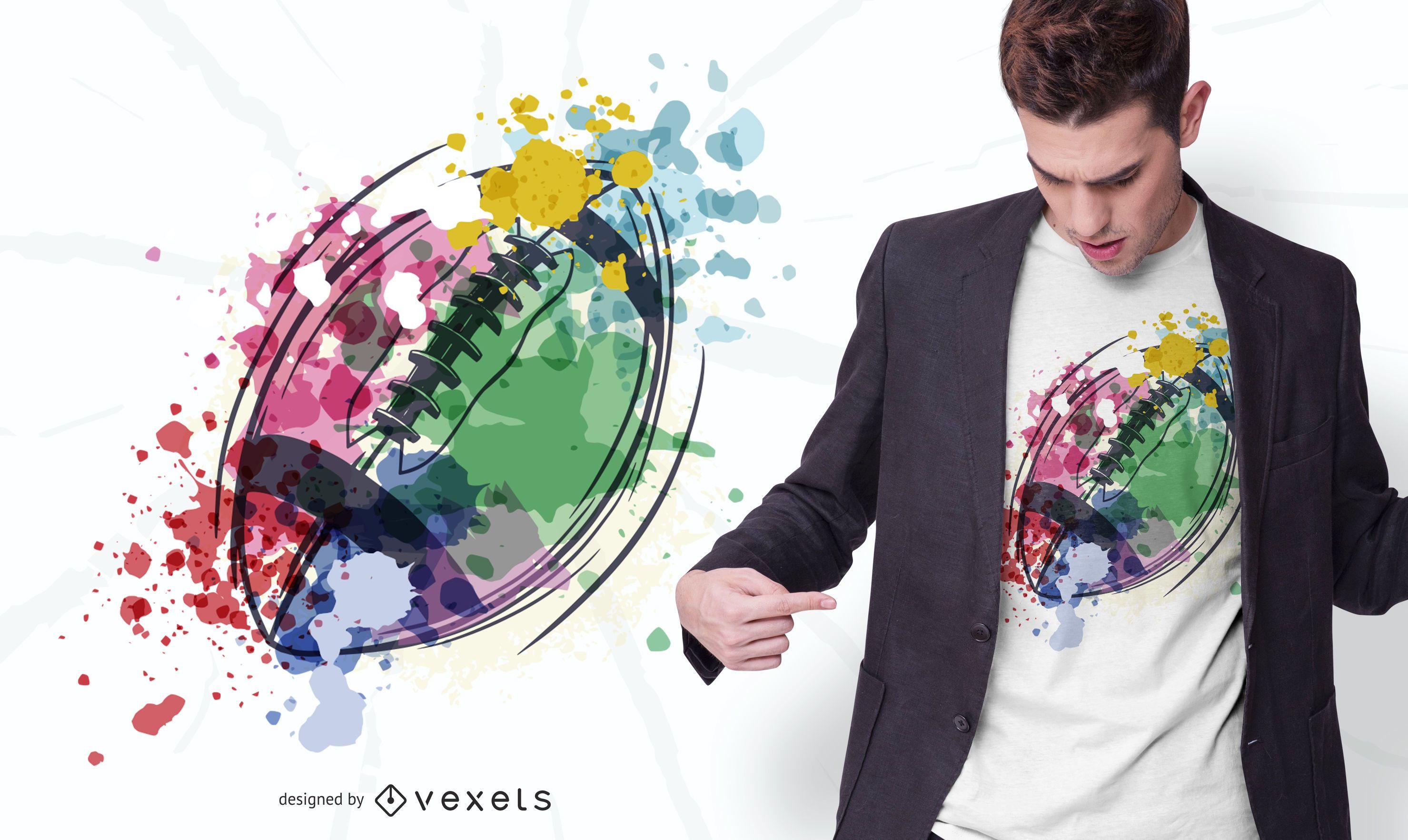 Design de t-shirt de bola de rugby em aquarela
