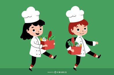 Conjunto de Design de personagens de crianças chef