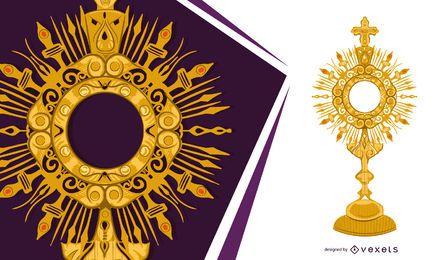 Diseño de objetos de custodia dorada