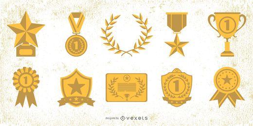 Paquete de elementos de premios de la medalla de oro