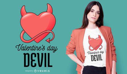 Design de t-shirt com coração do diabo dos namorados