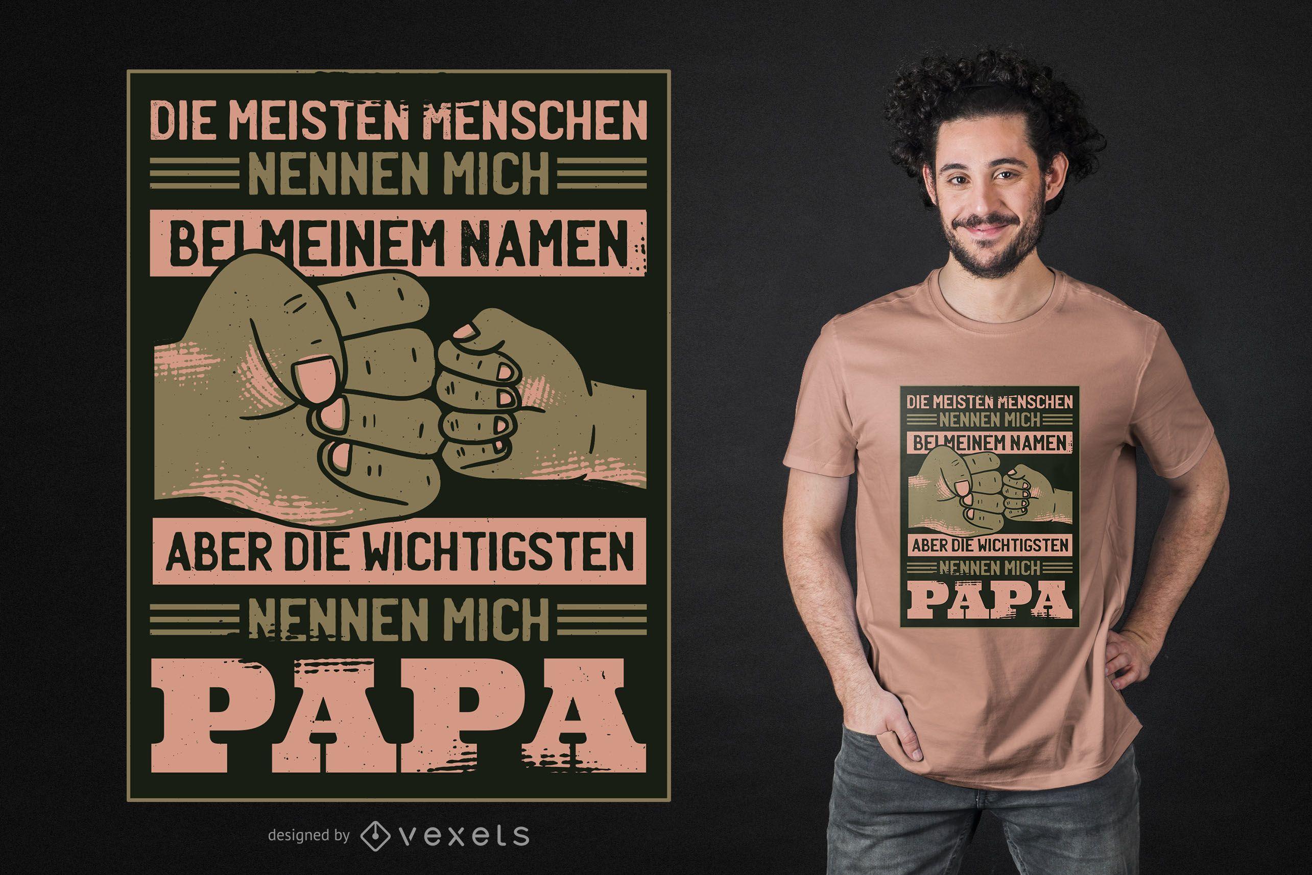 Diseño de camiseta de papá alemán cita