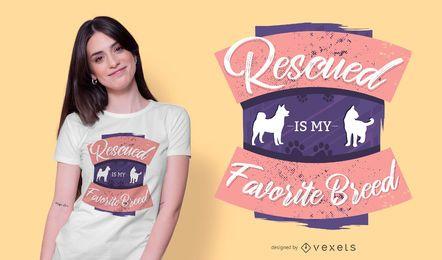 Diseño de camiseta de animales rescatados