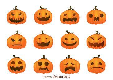 Conjunto de abóboras de Halloween vector