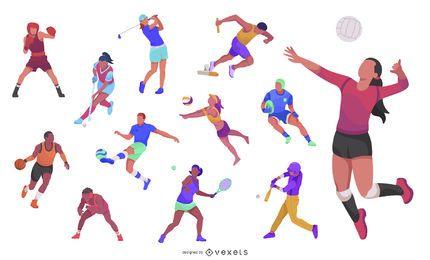 Conjunto de ícones de atletas dos Jogos Olímpicos