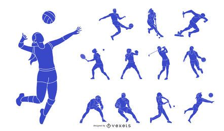 Paquete de silueta de personas deportivas