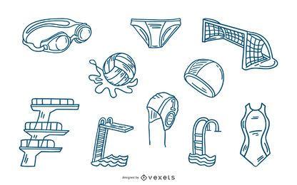 Conjunto de elementos de trazo de deportes acuáticos