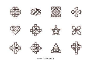 Conjunto de símbolos de traços de nós celtas