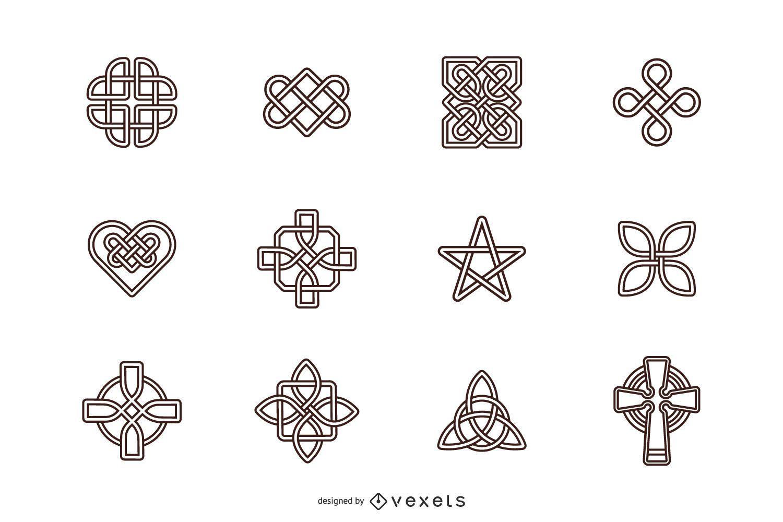 Conjunto de símbolo de trazo de nudos celtas