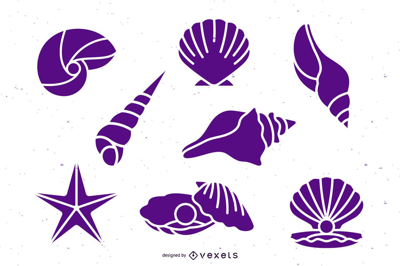 Paquete de silueta de concha marina