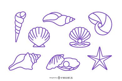 Paquete de diseño de concha marina de trazo