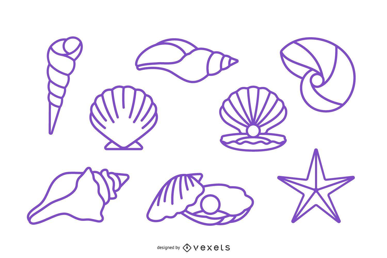 Stroke Seashell Design Pack