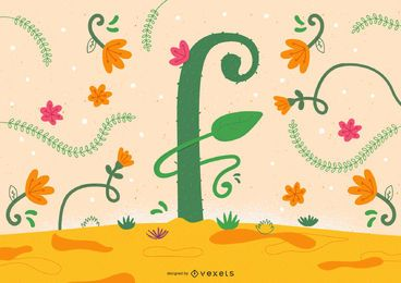 Flower Letter F Typography Design