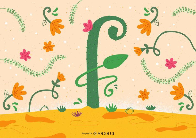 Diseño de tipografía flor letra f