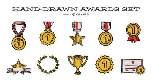 Conjunto de ilustración de premio dibujado a mano