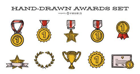 Hand-drawn Award Illustration Set