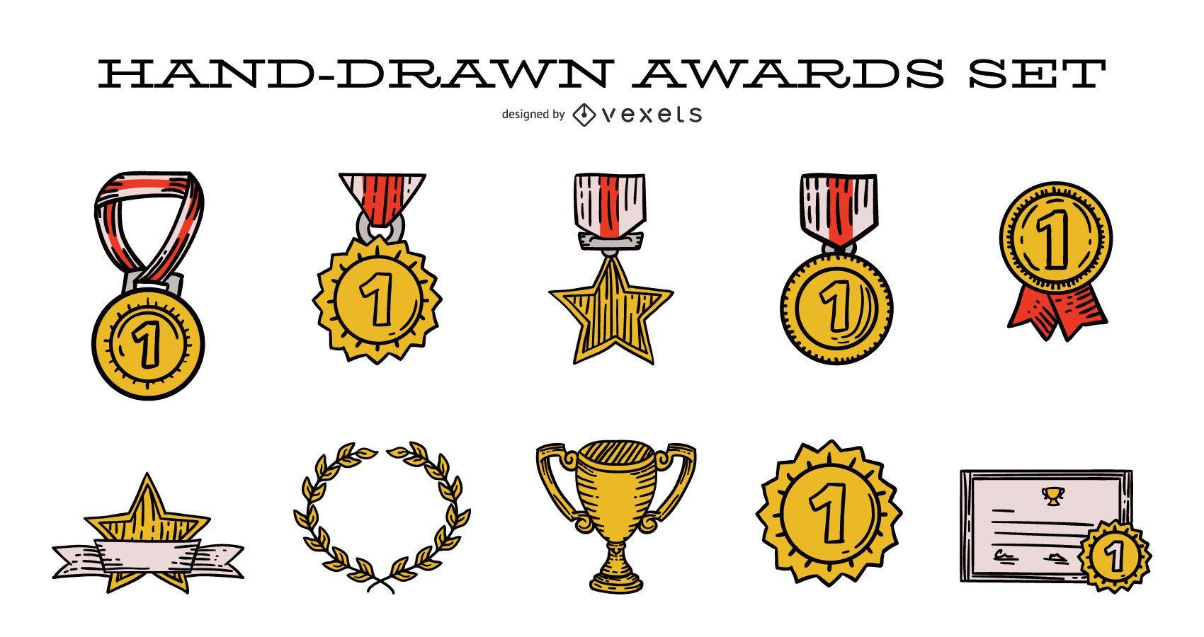 Conjunto de ilustração de prêmio desenhado à mão