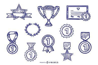 Conjunto de Design de prêmio de curso desenhado à mão