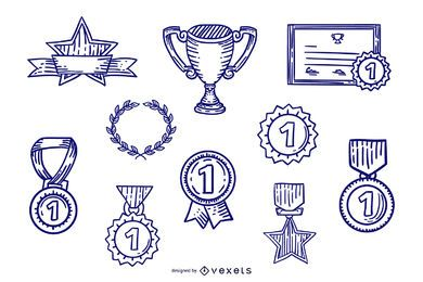 Hand Drawn Stroke Award Design Set