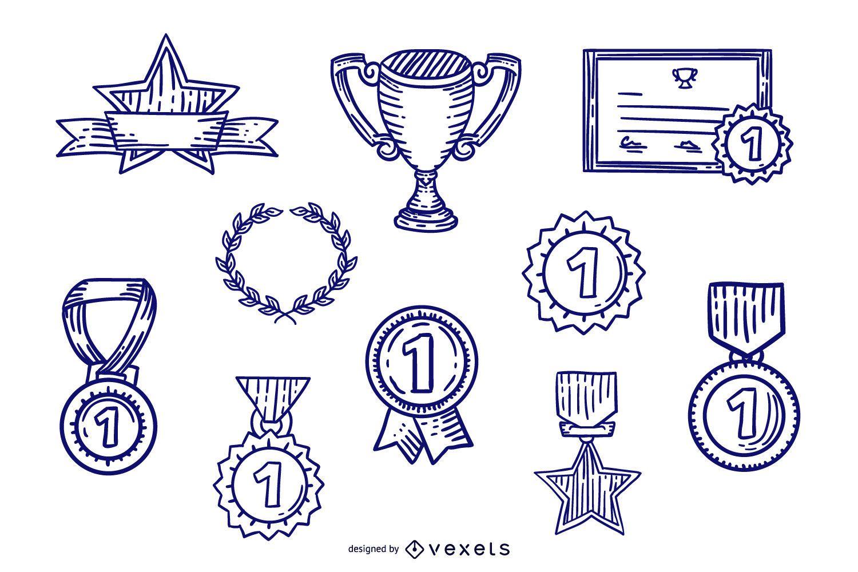 Conjunto de diseño de premio de trazo dibujado a mano
