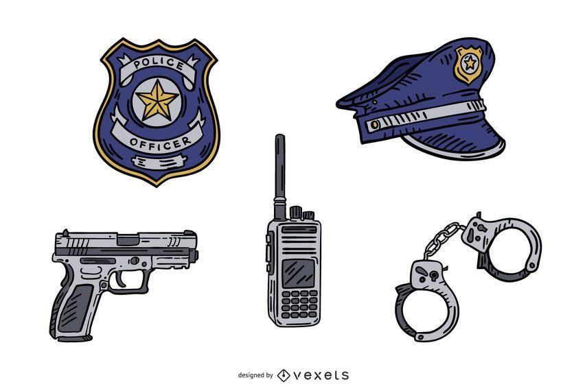 Paquete de elementos dibujados a mano de la policía