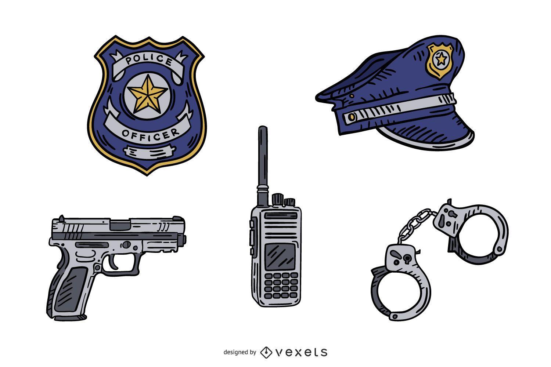Pacote de elementos desenhados à mão da polícia
