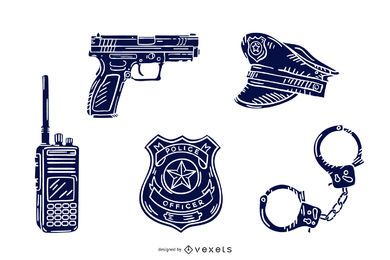 Pacote de silhueta desenhada mão de elementos de polícia