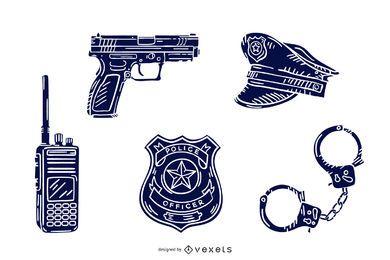 Paquete de silueta dibujada a mano de elementos policiales