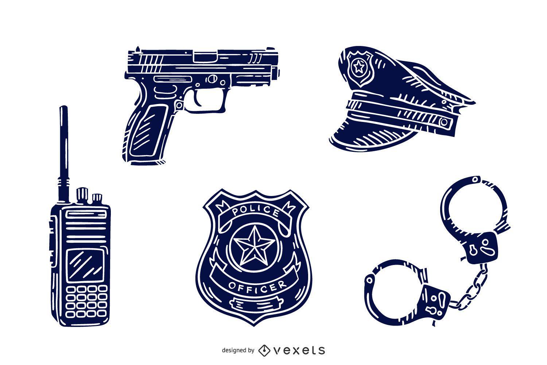 Pacote de silhuetas desenhadas à mão de elementos da polícia