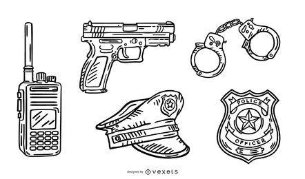 Paquete de diseño de trazo Police Elements