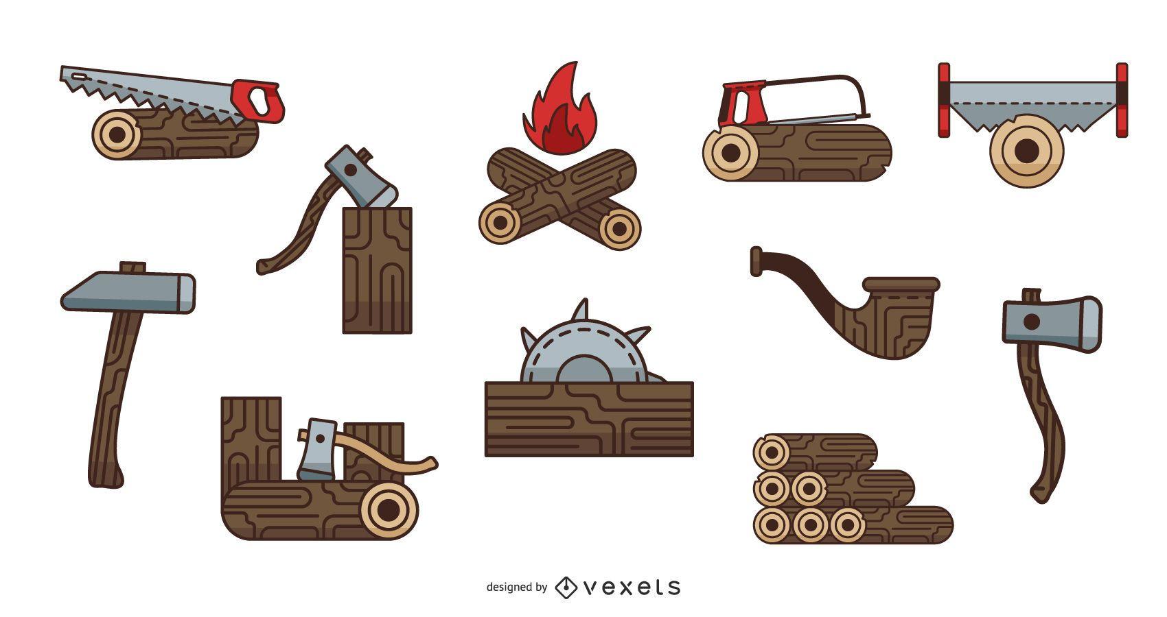 Lumberjack Colored Elements Pack