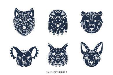Pacote de silhuetas de cabeças de animais mandala