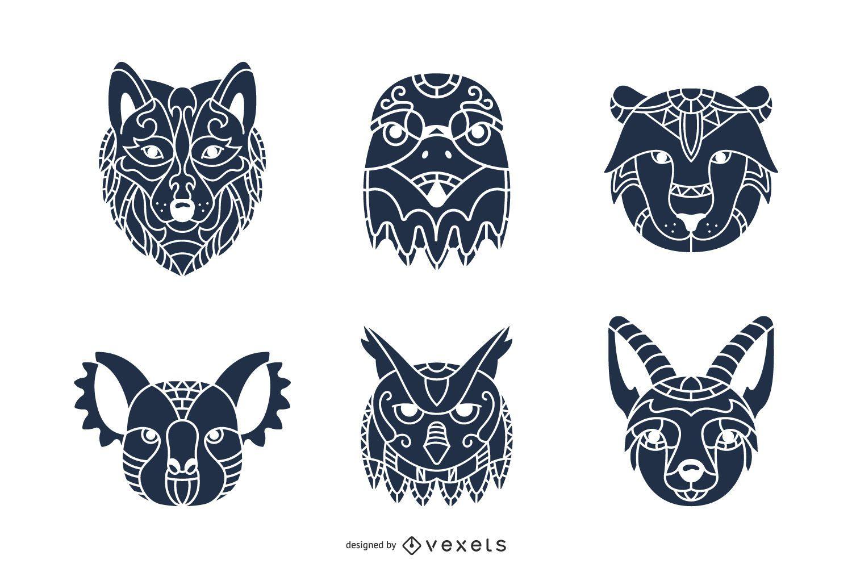 Paquete de silueta de cabezas de animales Mandala