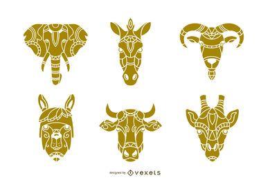 Conjunto de design de cabeça animal de mandala