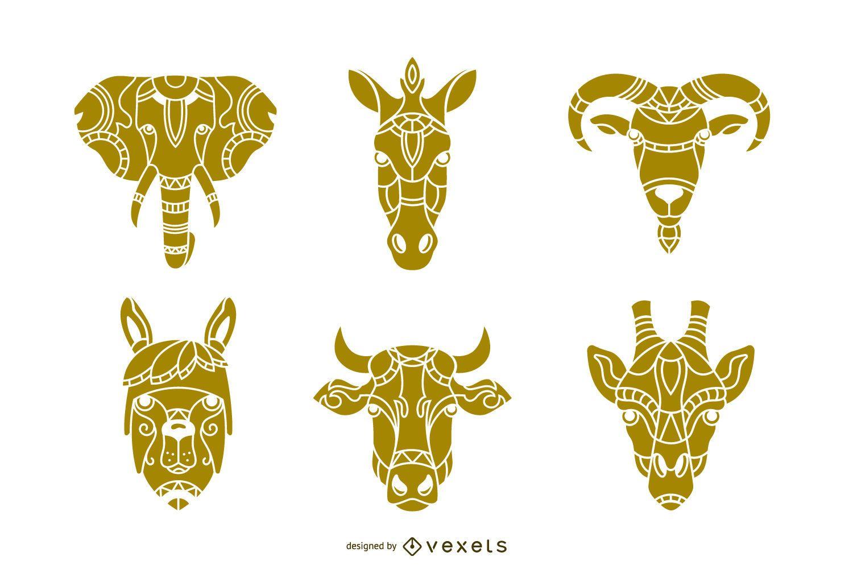 Conjunto de diseño de cabeza de animal Mandala