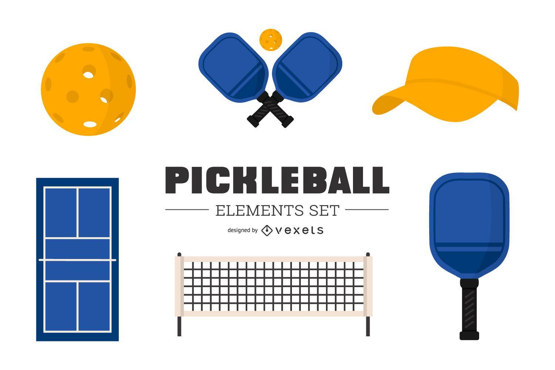 Conjunto de elementos de colores Pickleball